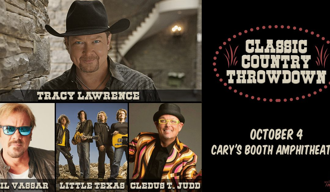 "Outback Concerts: ""Classic Country Throwdown"" Featuring Tracy Lawrence, Phil Vassar, Little Texas and Cledus T. Judd Announced for October 4 at Cary, NC's Booth Amphitheatre"