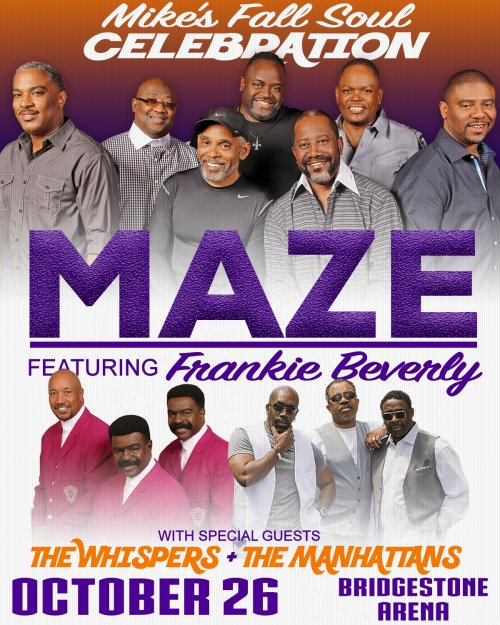 Maze Featuring Frankie Beverly, The Whispers and The Manhattans to Perform at Nashville's Bridgestone Arena on October 26